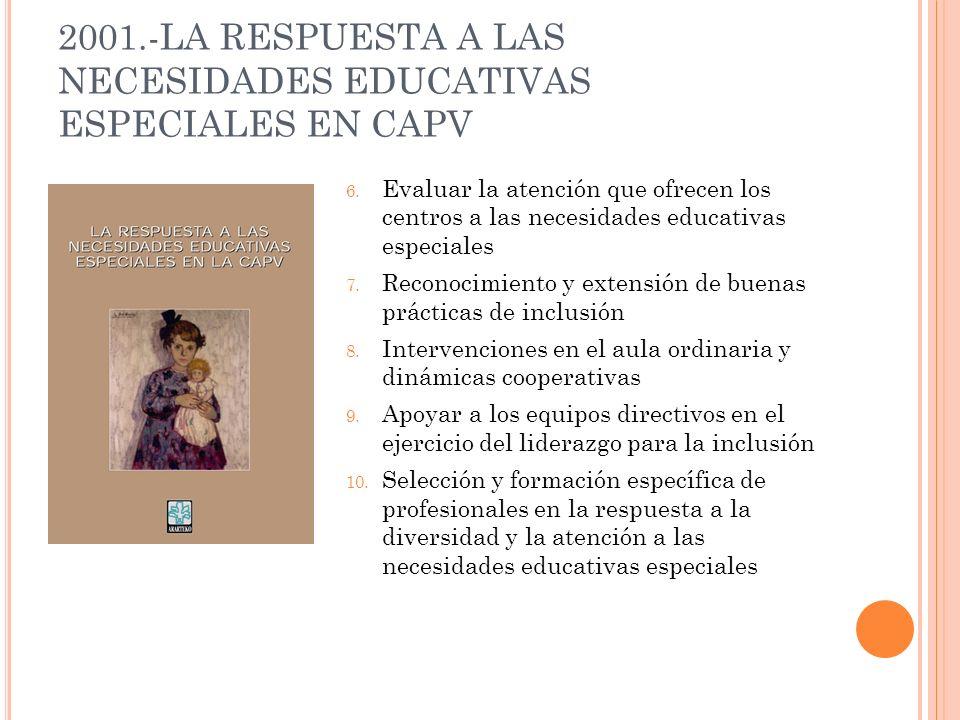 2001.-LA RESPUESTA A LAS NECESIDADES EDUCATIVAS ESPECIALES EN CAPV 6. Evaluar la atención que ofrecen los centros a las necesidades educativas especia