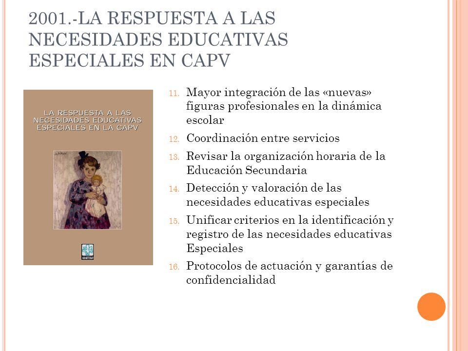 2001.-LA RESPUESTA A LAS NECESIDADES EDUCATIVAS ESPECIALES EN CAPV 11. Mayor integración de las «nuevas» figuras profesionales en la dinámica escolar