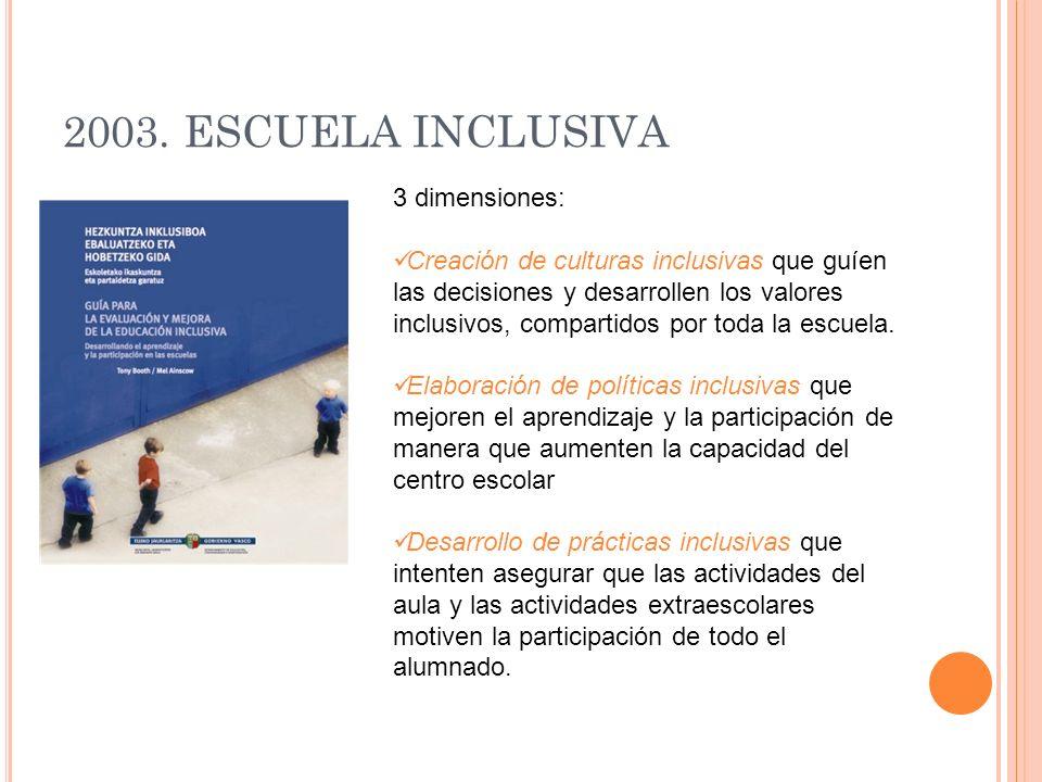 2003. ESCUELA INCLUSIVA 3 dimensiones: Creación de culturas inclusivas que guíen las decisiones y desarrollen los valores inclusivos, compartidos por
