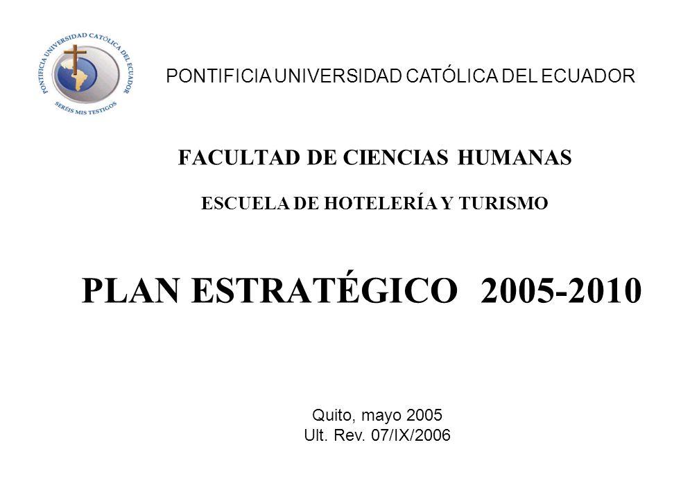 PLAN ESTRATÉGICO 2005-2010 FACULTAD DE CIENCIAS HUMANAS ESCUELA DE HOTELERÍA Y TURISMO PONTIFICIA UNIVERSIDAD CATÓLICA DEL ECUADOR Quito, mayo 2005 Ul