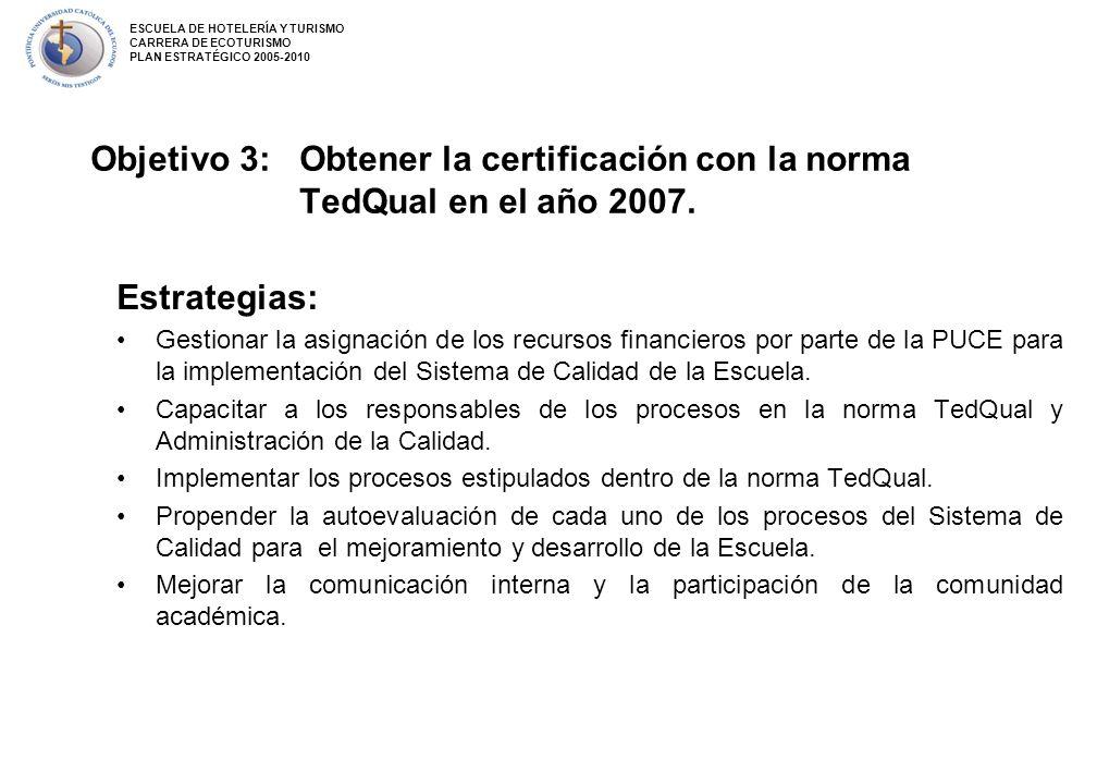 Objetivo 3: Obtener la certificación con la norma TedQual en el año 2007. Estrategias: Gestionar la asignación de los recursos financieros por parte d