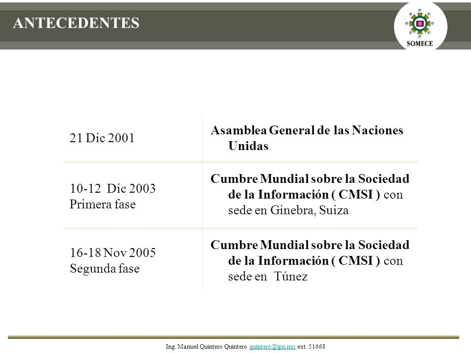 16-18 Nov 2005 Segunda fase Cumbre Mundial sobre la Sociedad de la Información ( CMSI ) con sede en Ginebra, Suiza 10-12 Dic 2003 Primera fase Asamble