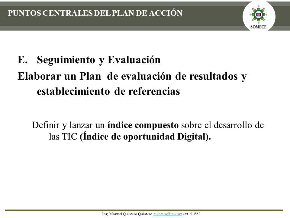 E.Seguimiento y Evaluación Elaborar un Plan de evaluación de resultados y establecimiento de referencias Definir y lanzar un índice compuesto sobre el