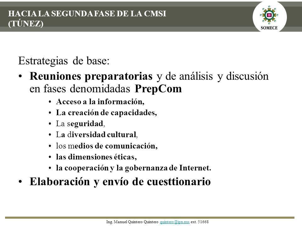 HACIA LA SEGUNDA FASE DE LA CMSI (TÚNEZ) Estrategias de base: Reuniones preparatorias y de análisis y discusión en fases denomidadas PrepCom Acceso a