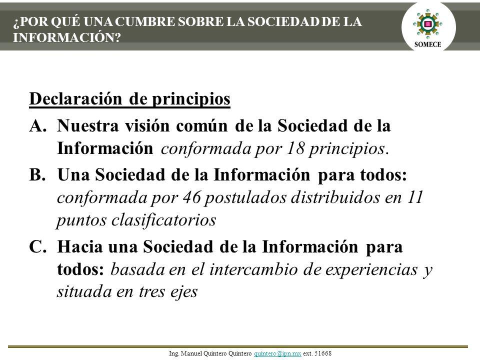 Declaración de principios A.Nuestra visión común de la Sociedad de la Información conformada por 18 principios. B.Una Sociedad de la Información para