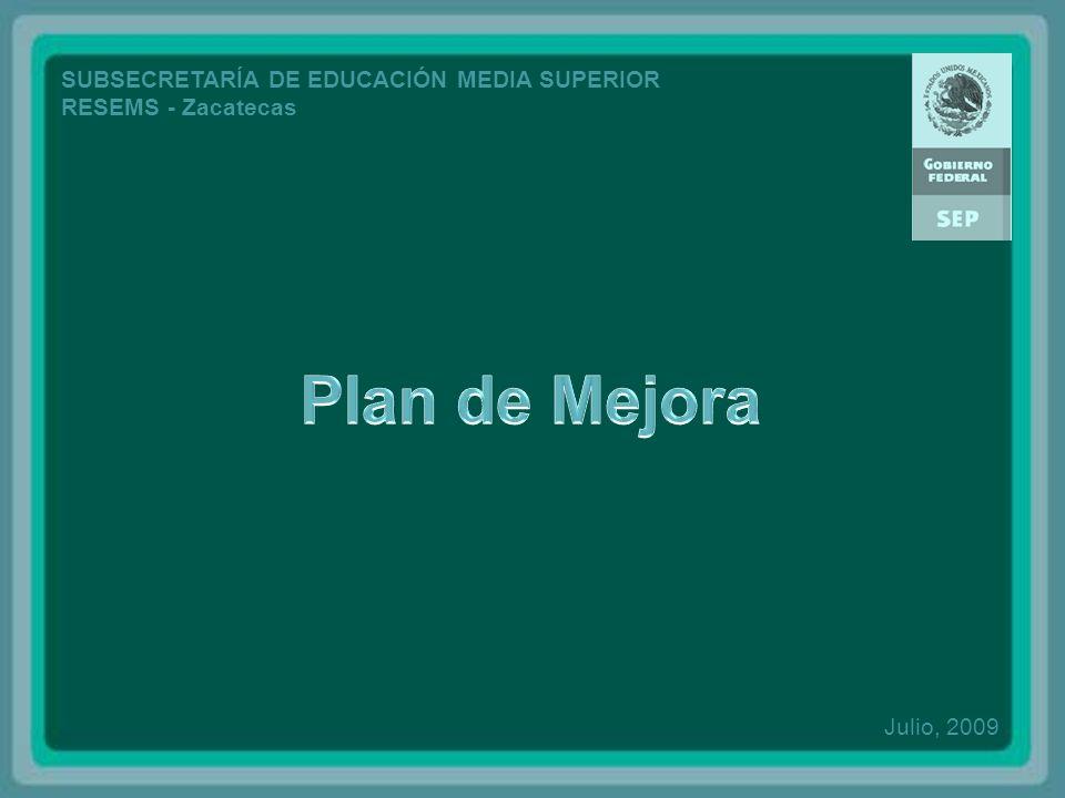 SUBSECRETARÍA DE EDUCACIÓN MEDIA SUPERIOR RESEMS - Zacatecas Julio, 2009