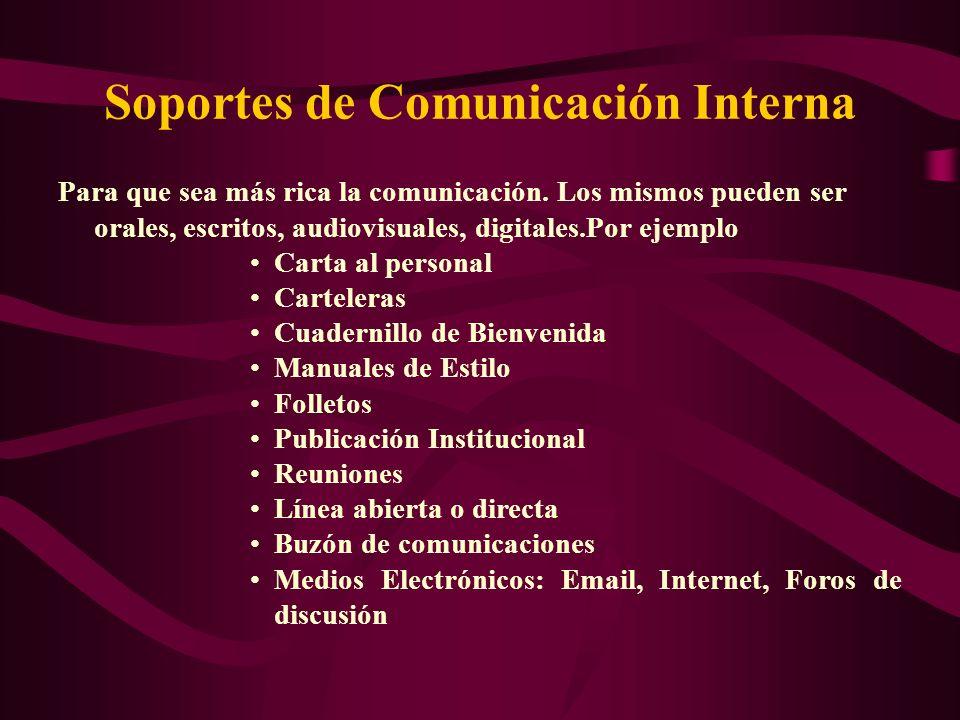 Para que sea más rica la comunicación. Los mismos pueden ser orales, escritos, audiovisuales, digitales.Por ejemplo Carta al personal Carteleras Cuade