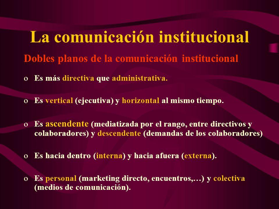 La comunicación institucional Dobles planos de la comunicación institucional oEs más directiva que administrativa. oEs vertical (ejecutiva) y horizont