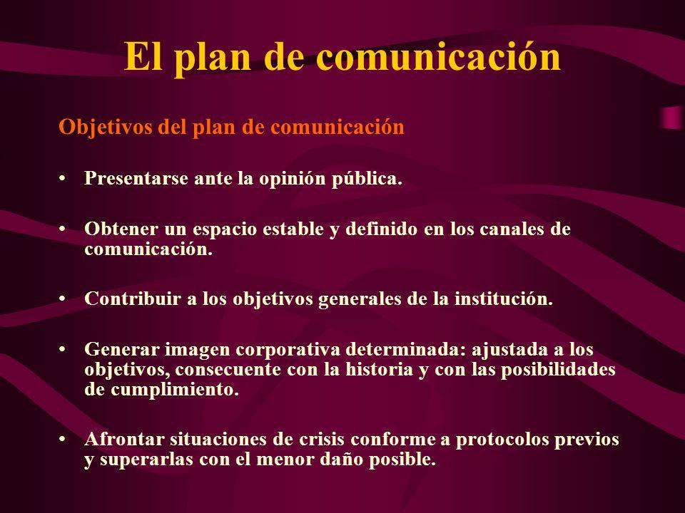 El plan de comunicación Objetivos del plan de comunicación Presentarse ante la opinión pública. Obtener un espacio estable y definido en los canales d