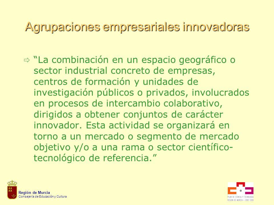 Región de Murcia Consejería de Educación y Cultura Agrupaciones empresariales innovadoras La combinación en un espacio geográfico o sector industrial concreto de empresas, centros de formación y unidades de investigación públicos o privados, involucrados en procesos de intercambio colaborativo, dirigidos a obtener conjuntos de carácter innovador.