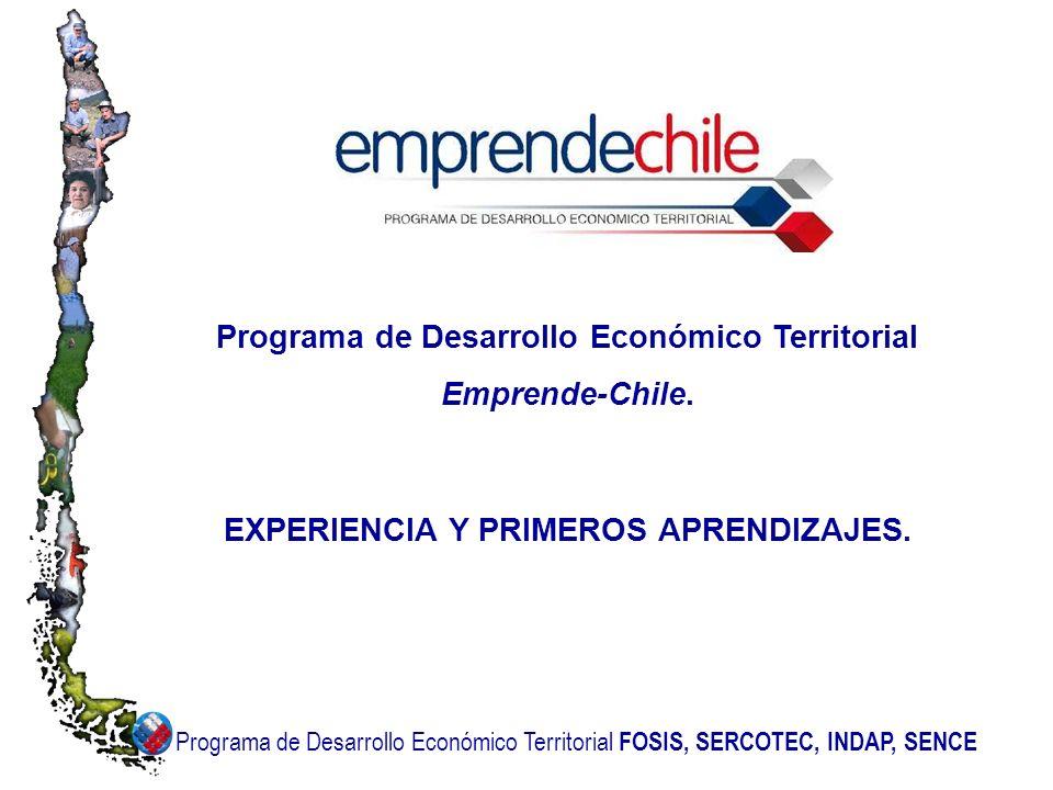 Programa de Desarrollo Económico Territorial FOSIS, SERCOTEC, INDAP, SENCE Programa de Desarrollo Económico Territorial Emprende-Chile. EXPERIENCIA Y