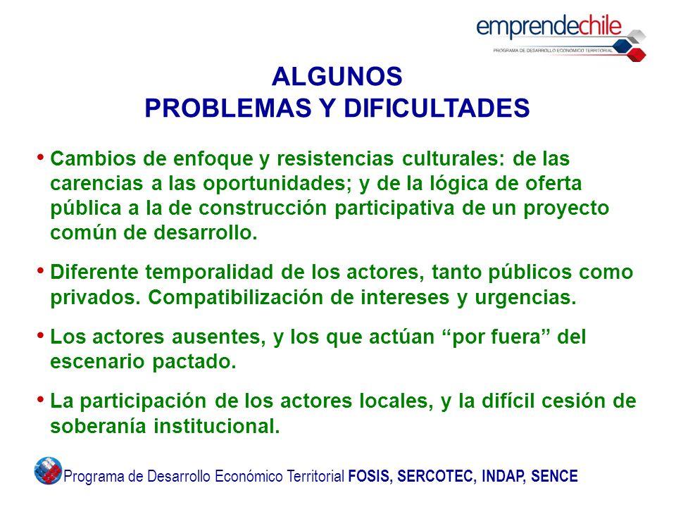 ALGUNOS PROBLEMAS Y DIFICULTADES Cambios de enfoque y resistencias culturales: de las carencias a las oportunidades; y de la lógica de oferta pública a la de construcción participativa de un proyecto común de desarrollo.