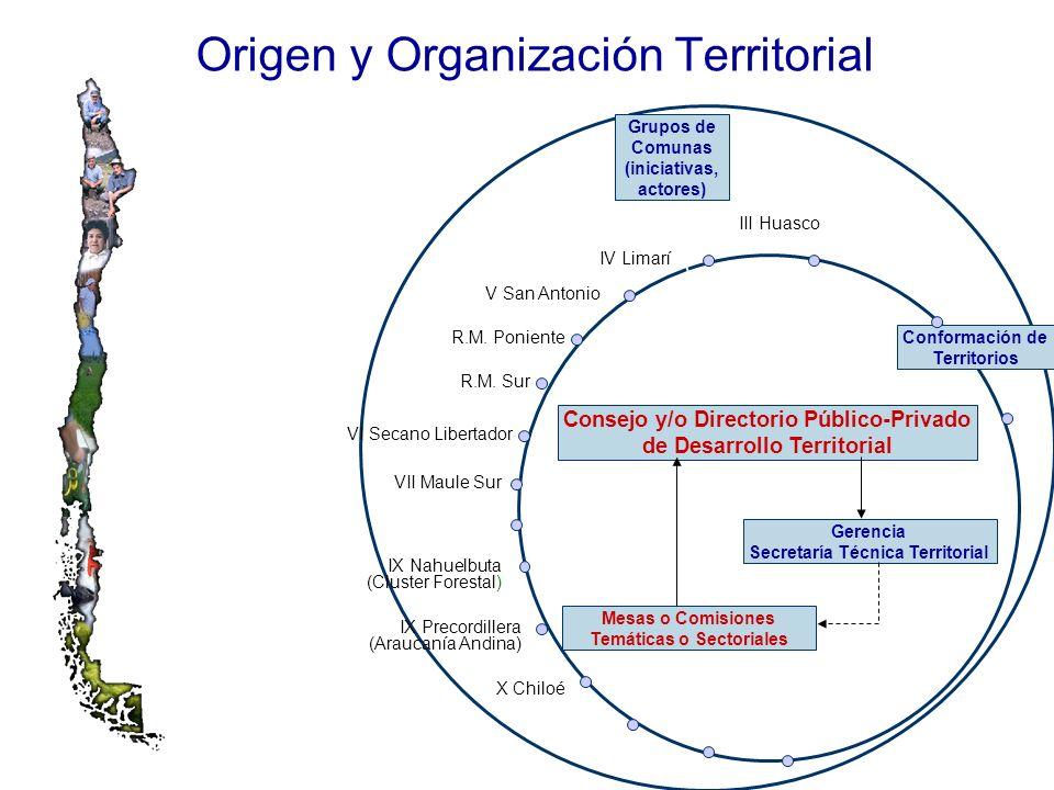 Origen y Organización Territorial Grupos de Comunas (iniciativas, actores) X Chiloé VI Secano Libertador R.M. Sur R.M. Poniente V San Antonio IV Limar