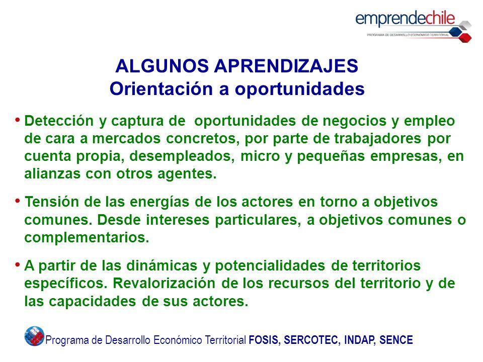 ALGUNOS APRENDIZAJES Orientación a oportunidades Detección y captura de oportunidades de negocios y empleo de cara a mercados concretos, por parte de