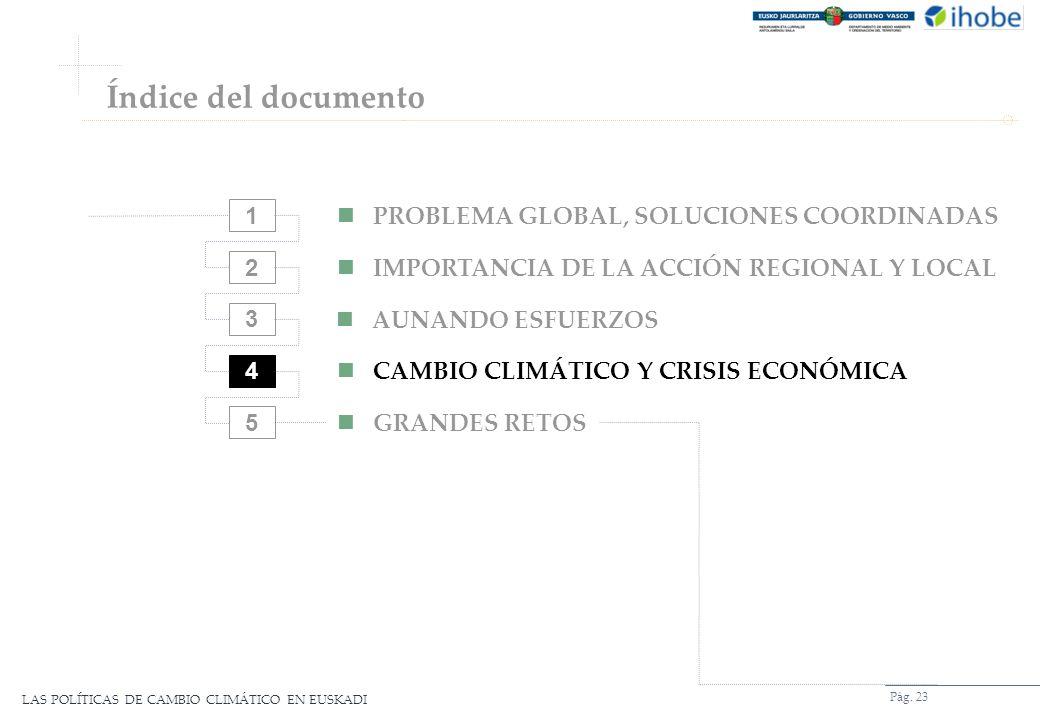 LAS POLÍTICAS DE CAMBIO CLIMÁTICO EN EUSKADI Pág. 23 2 3 4 5 PROBLEMA GLOBAL, SOLUCIONES COORDINADAS IMPORTANCIA DE LA ACCIÓN REGIONAL Y LOCAL AUNANDO