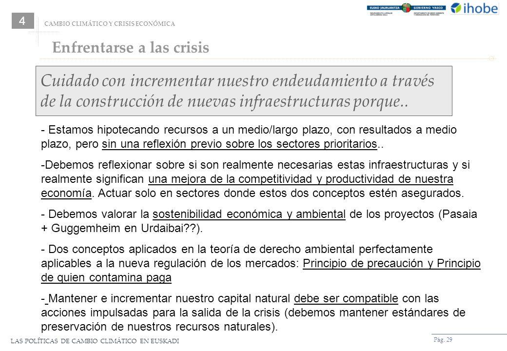 LAS POLÍTICAS DE CAMBIO CLIMÁTICO EN EUSKADI Pág. 29 Cuidado con incrementar nuestro endeudamiento a través de la construcción de nuevas infraestructu