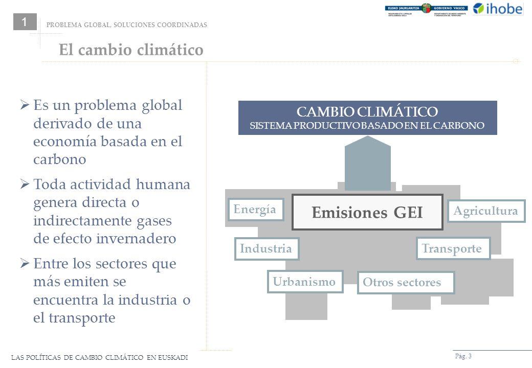 LAS POLÍTICAS DE CAMBIO CLIMÁTICO EN EUSKADI Pág. 3 CAMBIO CLIMÁTICO SISTEMA PRODUCTIVO BASADO EN EL CARBONO PROBLEMA GLOBAL, SOLUCIONES COORDINADAS 1