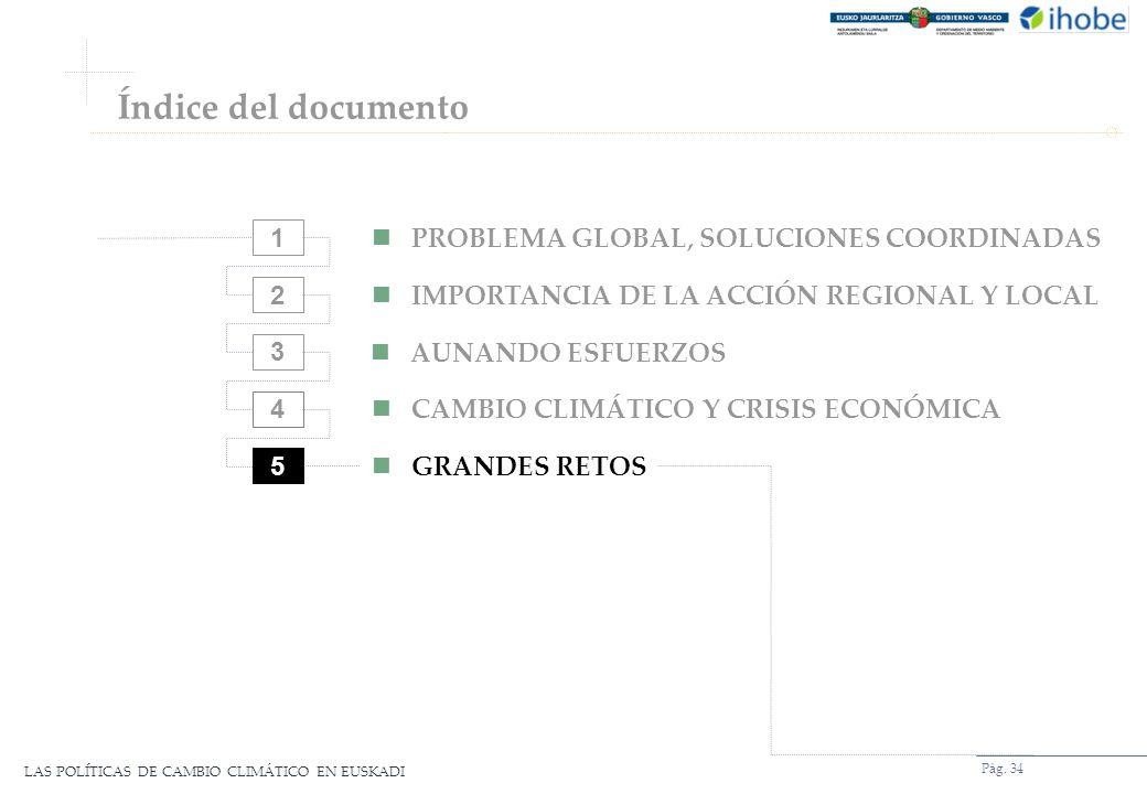 LAS POLÍTICAS DE CAMBIO CLIMÁTICO EN EUSKADI Pág. 34 2 3 4 5 PROBLEMA GLOBAL, SOLUCIONES COORDINADAS IMPORTANCIA DE LA ACCIÓN REGIONAL Y LOCAL AUNANDO