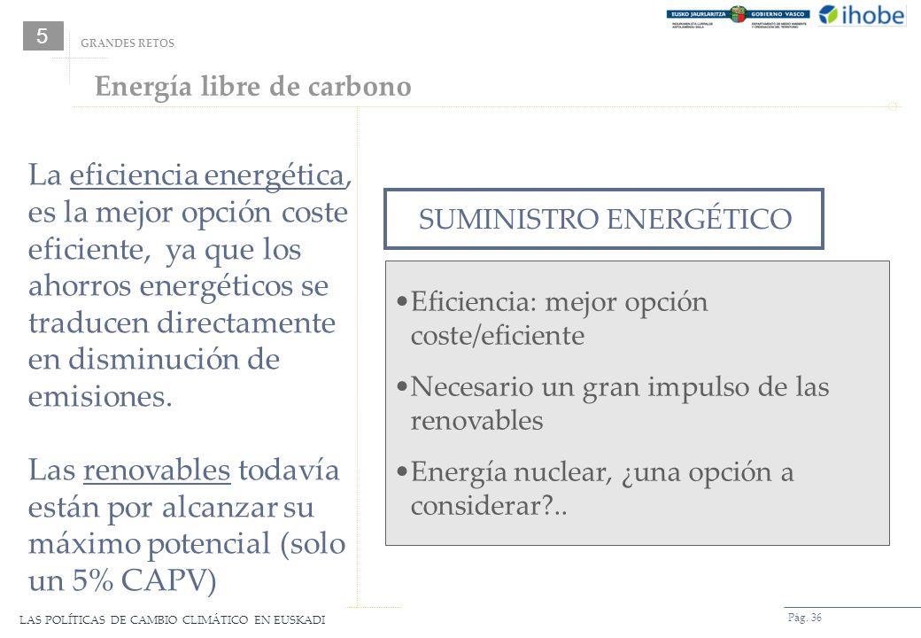LAS POLÍTICAS DE CAMBIO CLIMÁTICO EN EUSKADI Pág. 36 Energía libre de carbono SUMINISTRO ENERGÉTICO Eficiencia: mejor opción coste/eficiente Necesario