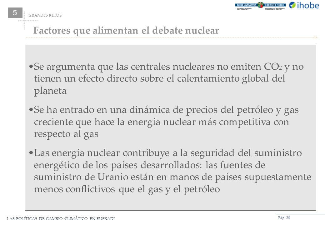 LAS POLÍTICAS DE CAMBIO CLIMÁTICO EN EUSKADI Pág. 38 Factores que alimentan el debate nuclear GRANDES RETOS Se argumenta que las centrales nucleares n