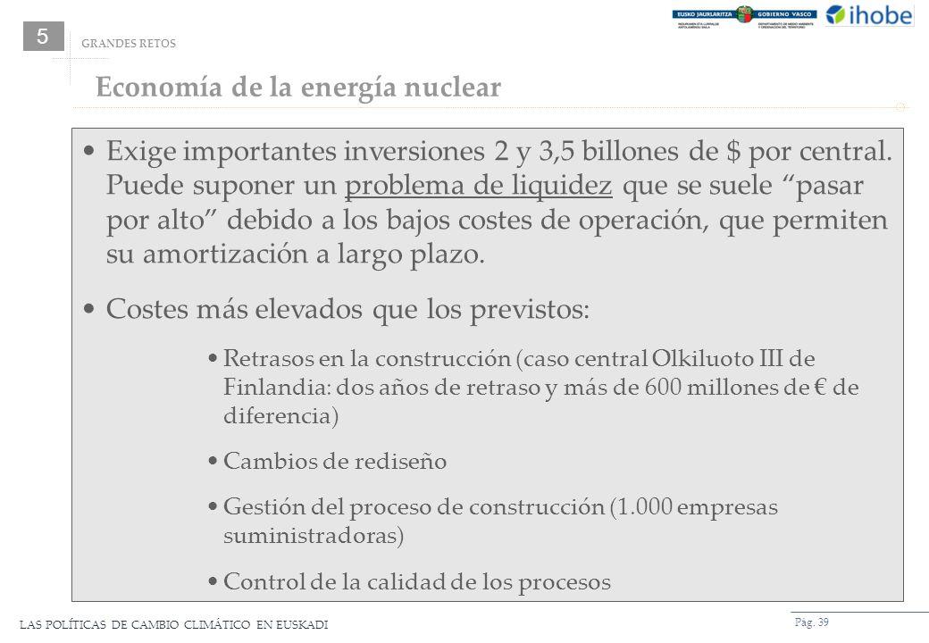LAS POLÍTICAS DE CAMBIO CLIMÁTICO EN EUSKADI Pág. 39 GRANDES RETOS Exige importantes inversiones 2 y 3,5 billones de $ por central. Puede suponer un p