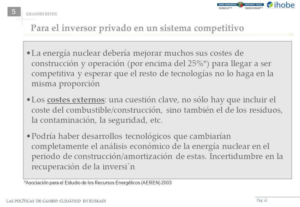 LAS POLÍTICAS DE CAMBIO CLIMÁTICO EN EUSKADI Pág. 41 GRANDES RETOS La energía nuclear debería mejorar muchos sus costes de construcción y operación (p