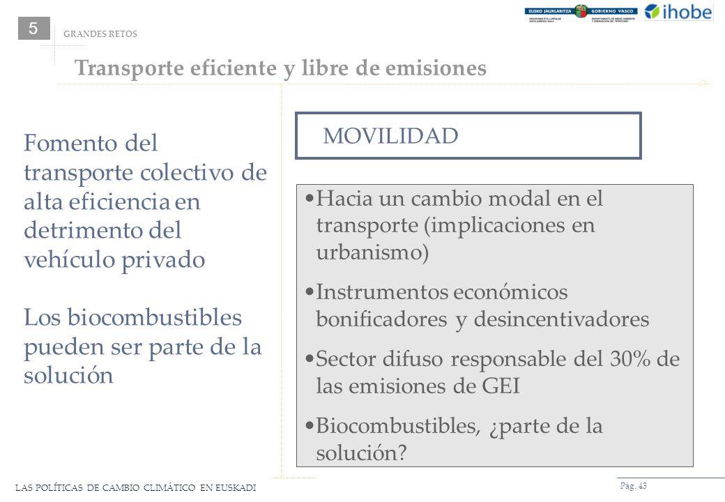 LAS POLÍTICAS DE CAMBIO CLIMÁTICO EN EUSKADI Pág. 43 MOVILIDAD Hacia un cambio modal en el transporte (implicaciones en urbanismo) Instrumentos económ