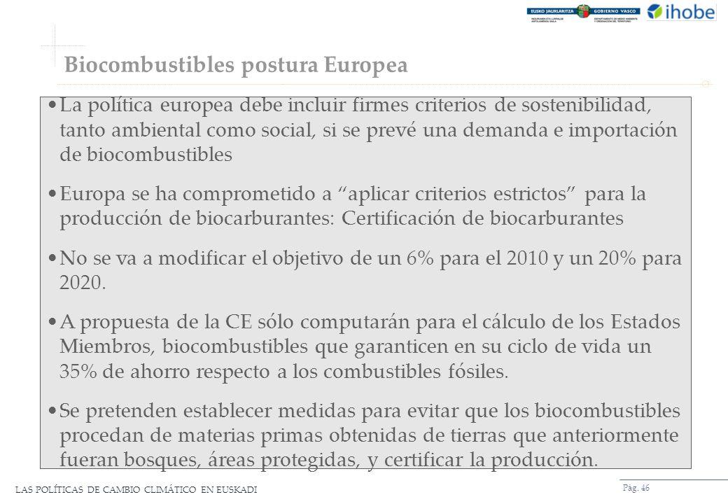 LAS POLÍTICAS DE CAMBIO CLIMÁTICO EN EUSKADI Biocombustibles postura Europea Pág. 46 La política europea debe incluir firmes criterios de sostenibilid