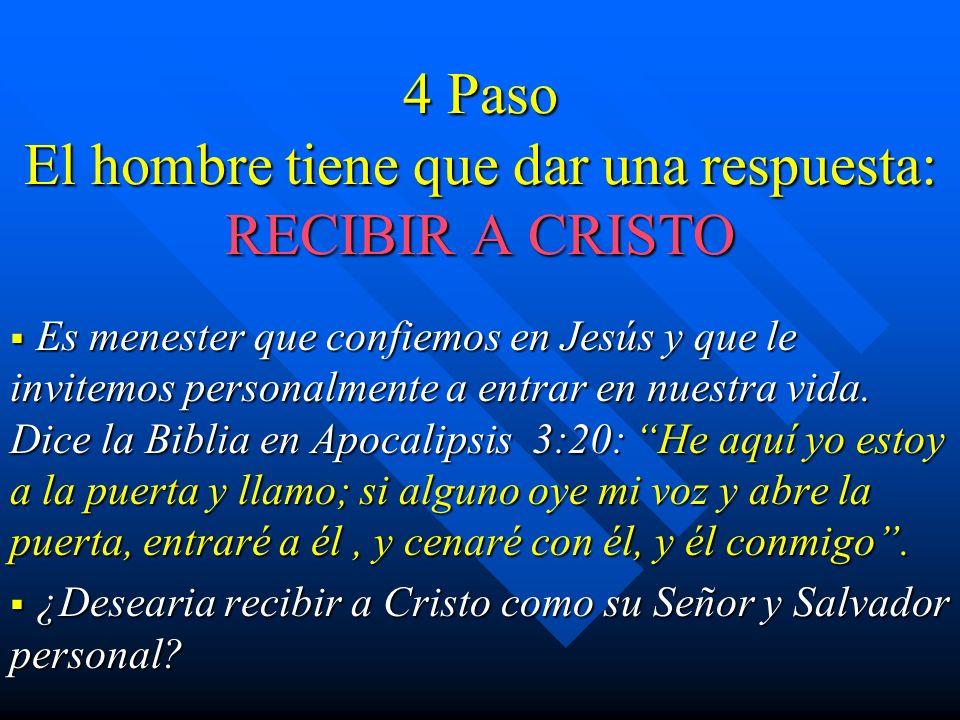4 Paso El hombre tiene que dar una respuesta: RECIBIR A CRISTO Es menester que confiemos en Jesús y que le invitemos personalmente a entrar en nuestra