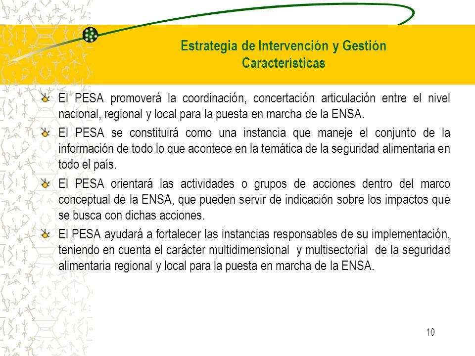 10 El PESA promoverá la coordinación, concertación articulación entre el nivel nacional, regional y local para la puesta en marcha de la ENSA. El PESA