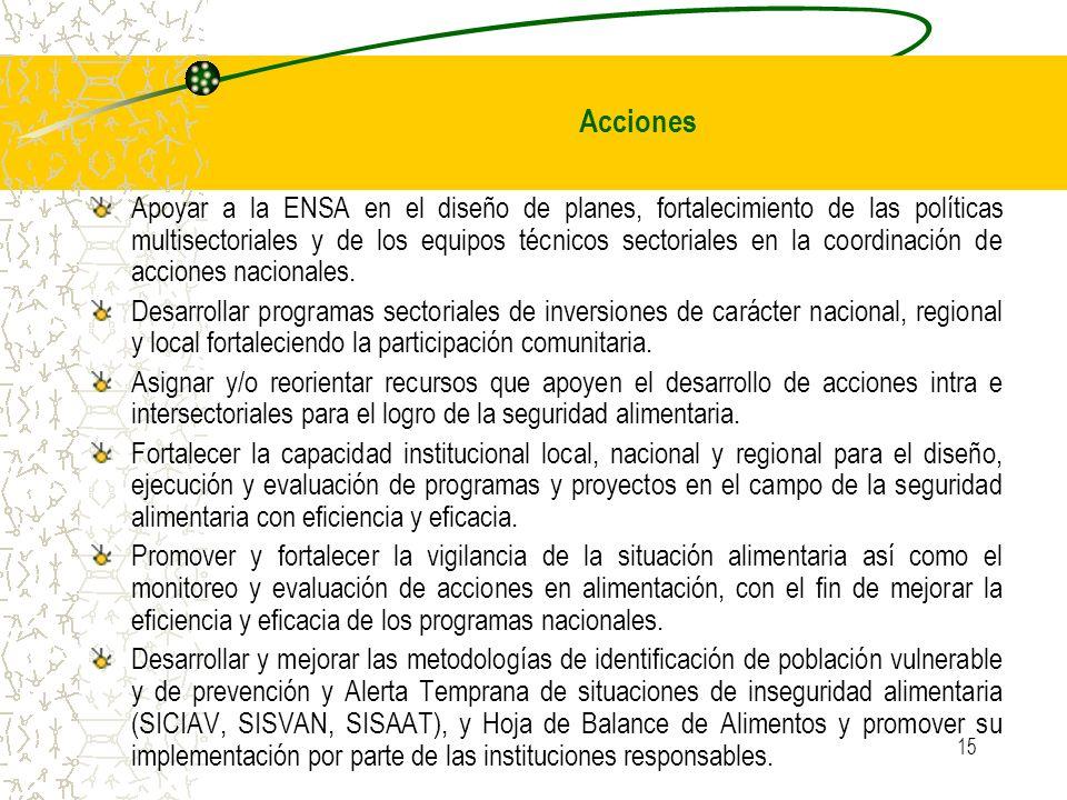 15 Apoyar a la ENSA en el diseño de planes, fortalecimiento de las políticas multisectoriales y de los equipos técnicos sectoriales en la coordinación de acciones nacionales.