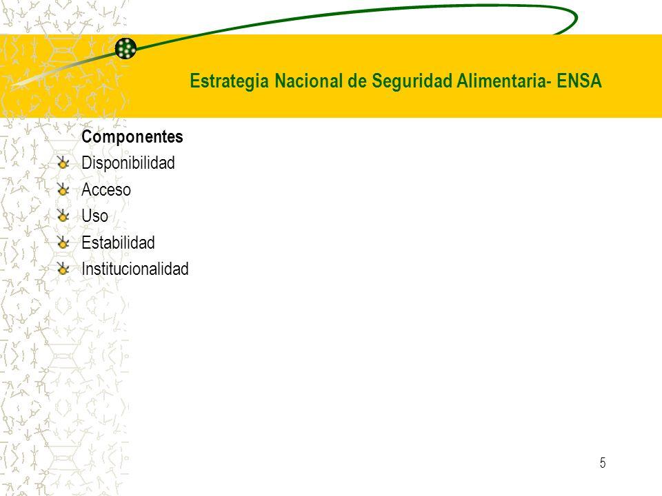 5 Componentes Disponibilidad Acceso Uso Estabilidad Institucionalidad Estrategia Nacional de Seguridad Alimentaria- ENSA