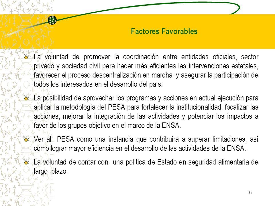 6 La voluntad de promover la coordinación entre entidades oficiales, sector privado y sociedad civil para hacer más eficientes las intervenciones esta