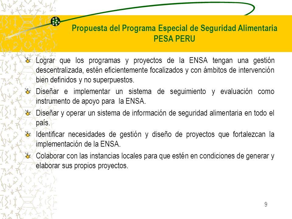 9 Lograr que los programas y proyectos de la ENSA tengan una gestión descentralizada, estén eficientemente focalizados y con ámbitos de intervención bien definidos y no superpuestos.