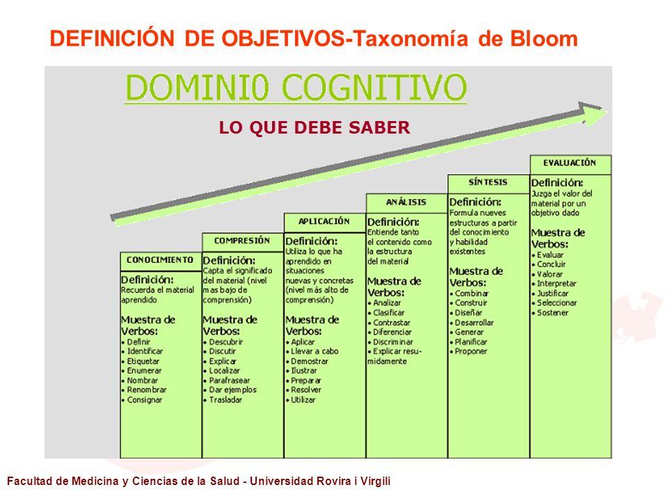 Facultad de Medicina y Ciencias de la Salud - Universidad Rovira i Virgili LO QUE DEBE SABER DEFINICIÓN DE OBJETIVOS-Taxonomía de Bloom