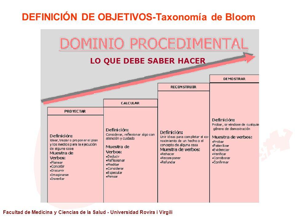 Facultad de Medicina y Ciencias de la Salud - Universidad Rovira i Virgili LO QUE DEBE SABER HACER DEFINICIÓN DE OBJETIVOS-Taxonomía de Bloom