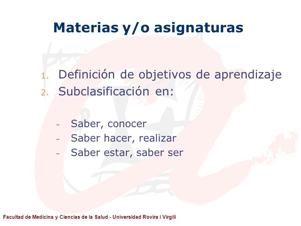 Facultad de Medicina y Ciencias de la Salud - Universidad Rovira i Virgili Materias y/o asignaturas 1. Definición de objetivos de aprendizaje 2. Subcl