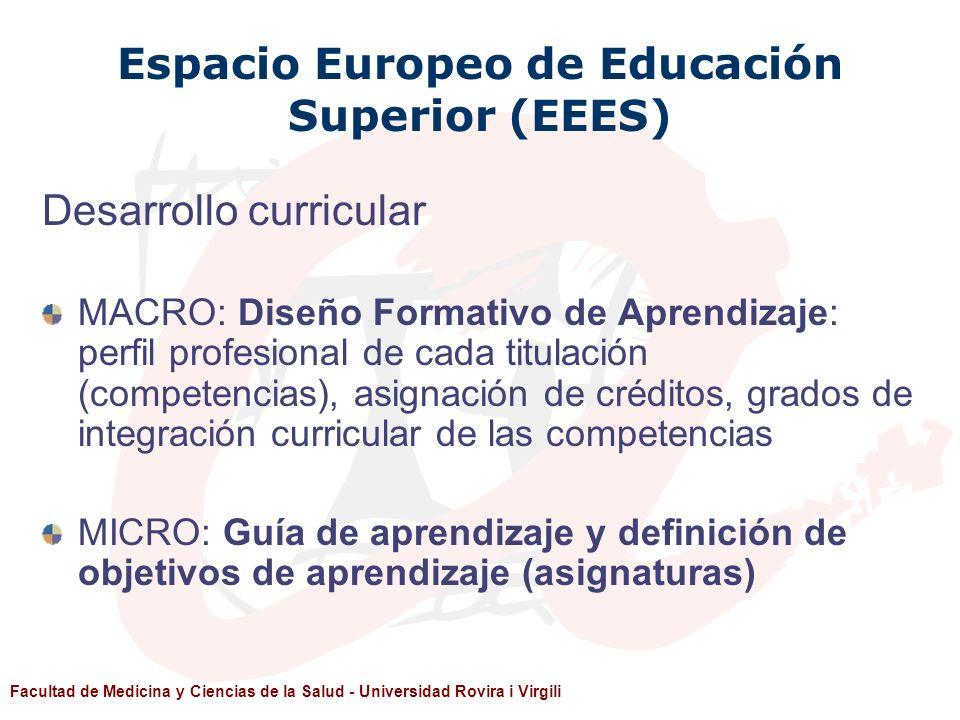 Facultad de Medicina y Ciencias de la Salud - Universidad Rovira i Virgili Espacio Europeo de Educación Superior (EEES) Desarrollo curricular MACRO: D