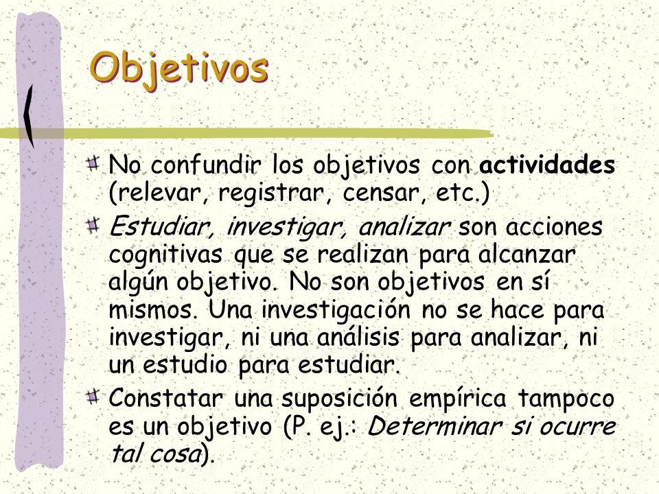 No confundir los objetivos con actividades (relevar, registrar, censar, etc.) Estudiar, investigar, analizar son acciones cognitivas que se realizan p