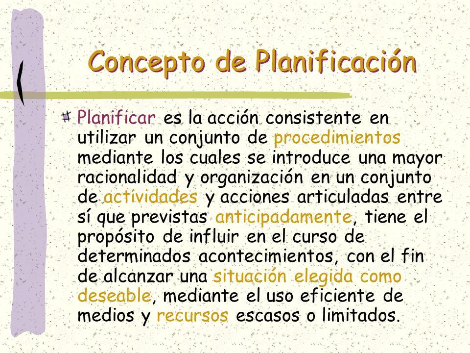 Concepto de Planificación Planificar es la acción consistente en utilizar un conjunto de procedimientos mediante los cuales se introduce una mayor rac