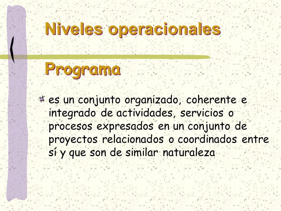 Niveles operacionales P rograma es un conjunto organizado, coherente e integrado de actividades, servicios o procesos expresados en un conjunto de pro