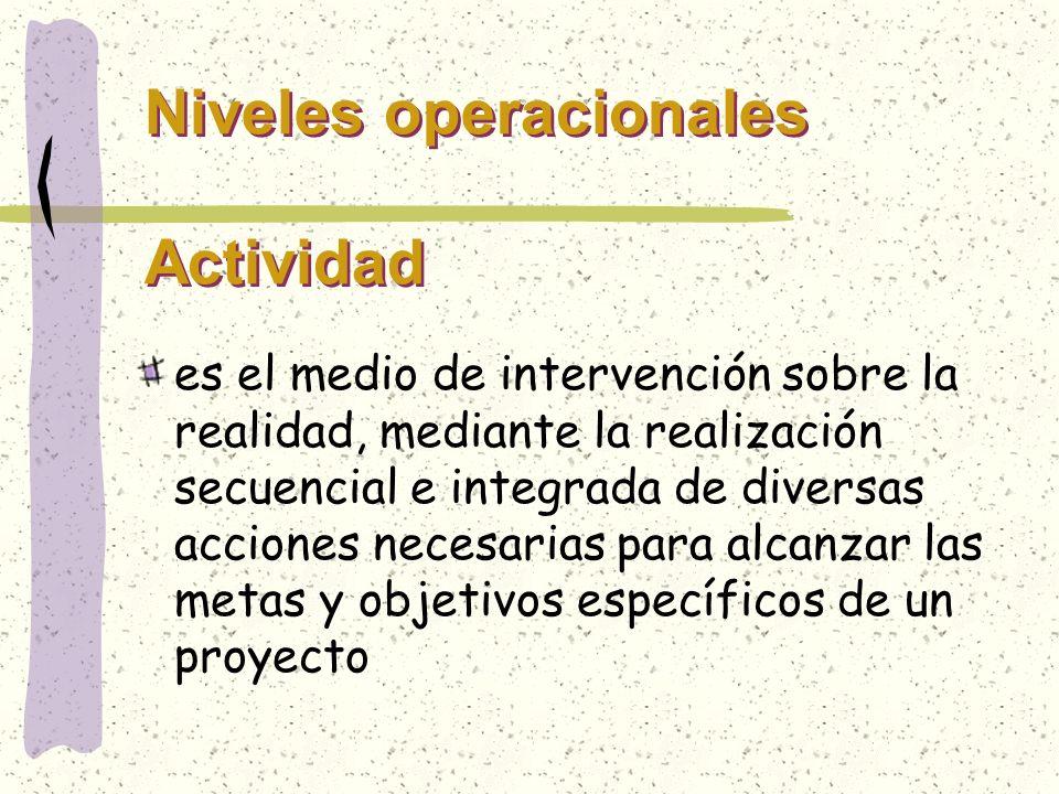 Niveles operacionales Tarea Es la acción que operacionaliza una actividad con un grado máximo de concreción y especificidad.