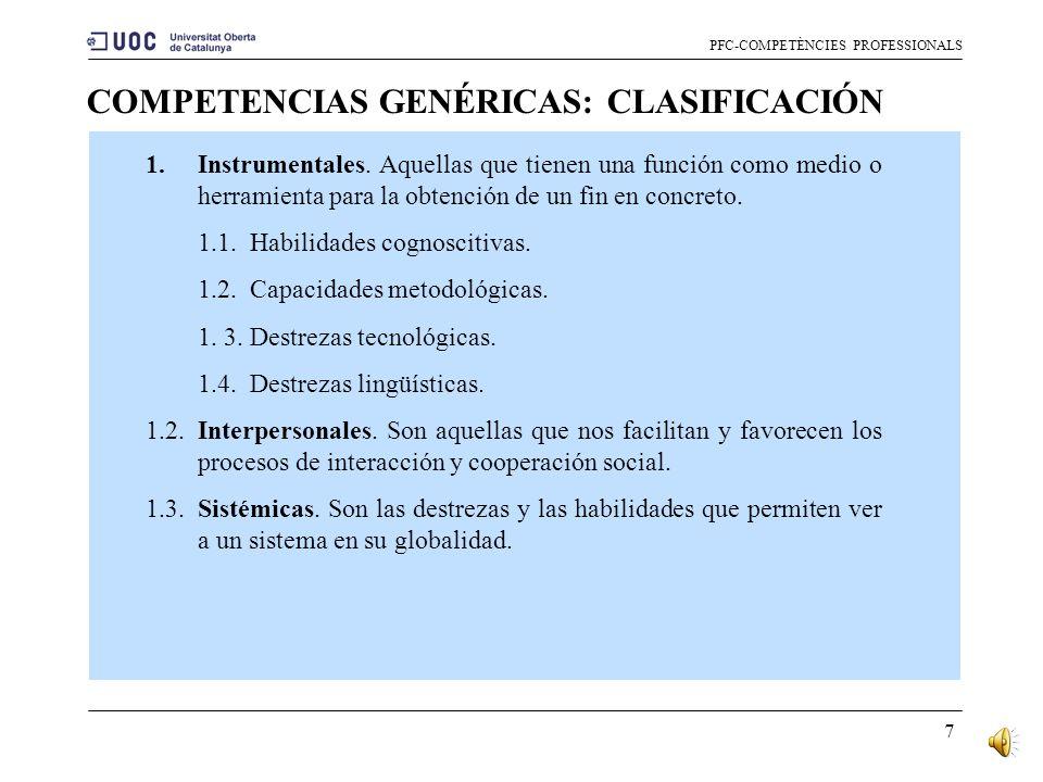 6 CURRÍCULO BASADO EN COMPETENCIAS PFC-COMPETÈNCIES PROFESSIONALS Enfocar los planes de estudio desde una vertiente competencial permite proporcionar