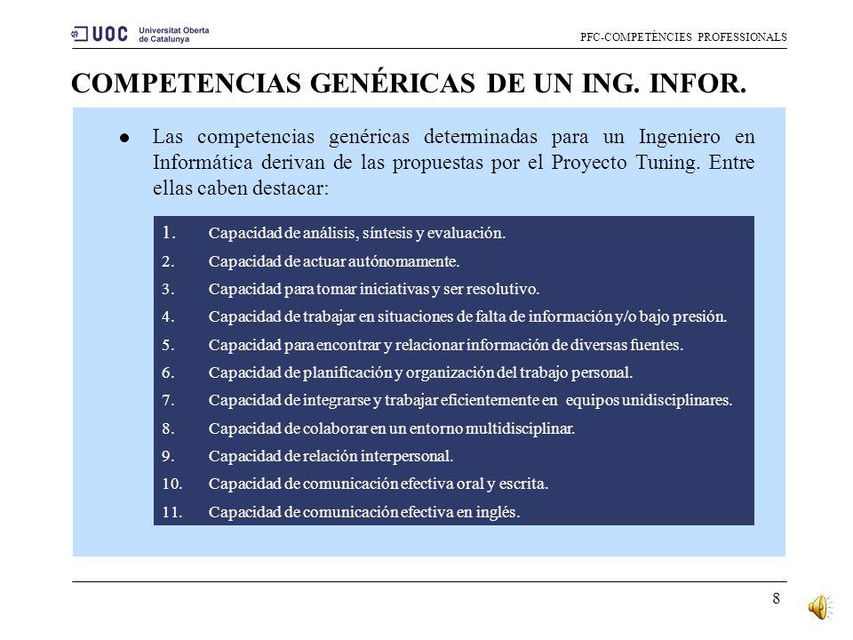 7 COMPETENCIAS GENÉRICAS: CLASIFICACIÓN PFC-COMPETÈNCIES PROFESSIONALS 1.Instrumentales. Aquellas que tienen una función como medio o herramienta para