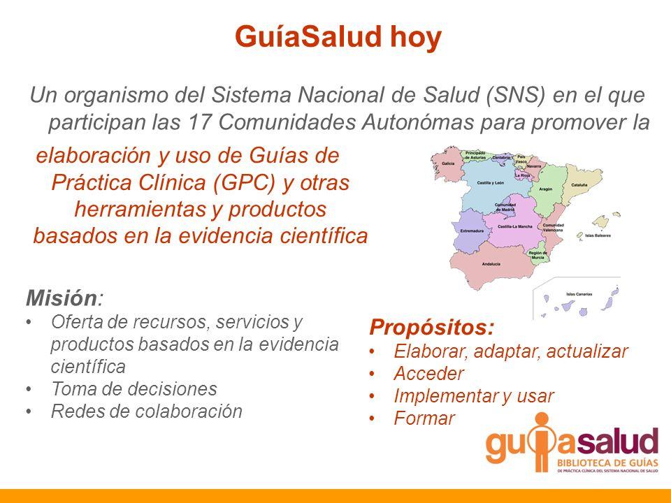 GuíaSalud hoy Un organismo del Sistema Nacional de Salud (SNS) en el que participan las 17 Comunidades Autonómas para promover la elaboración y uso de