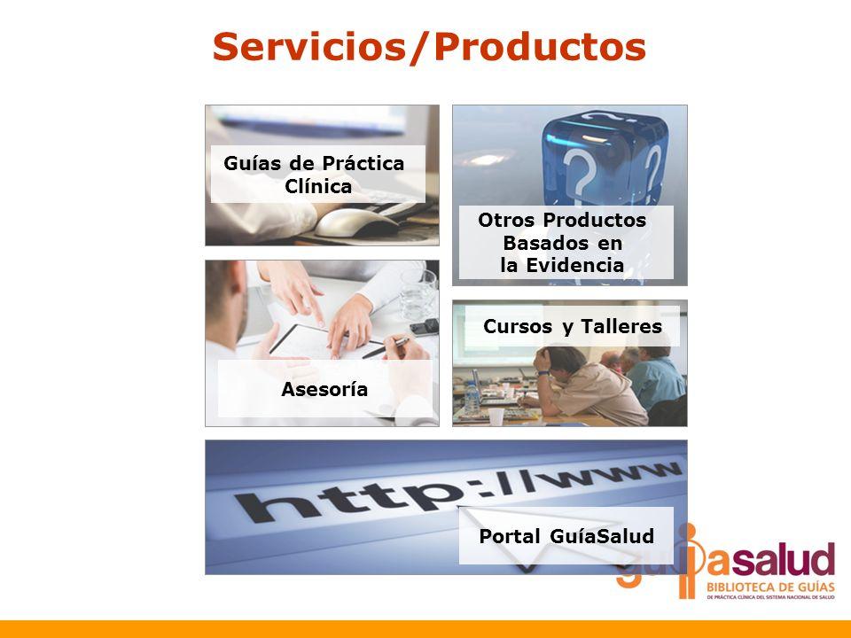 Servicios/Productos Guías de Práctica Clínica Otros Productos Basados en la Evidencia Asesoría Cursos y Talleres Portal GuíaSalud