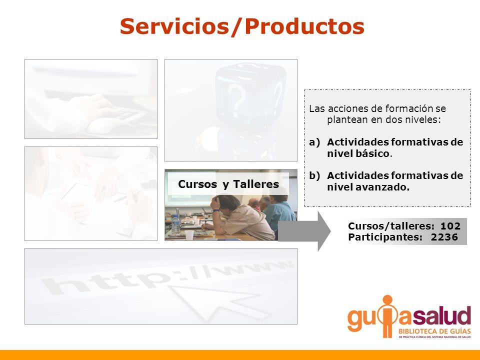 Servicios/Productos Cursos y Talleres Las acciones de formación se plantean en dos niveles: a)Actividades formativas de nivel básico. b)Actividades fo