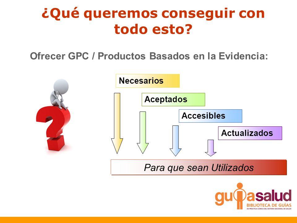¿Qué queremos conseguir con todo esto? Ofrecer GPC / Productos Basados en la Evidencia: Necesarios Aceptados Accesibles Actualizados Para que sean Uti