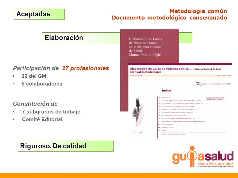 Elaboración Metodología común Documento metodológico consensuado Participación de 27 profesionales 22 del GM 5 colaboradores Constitución de 7 subgrup