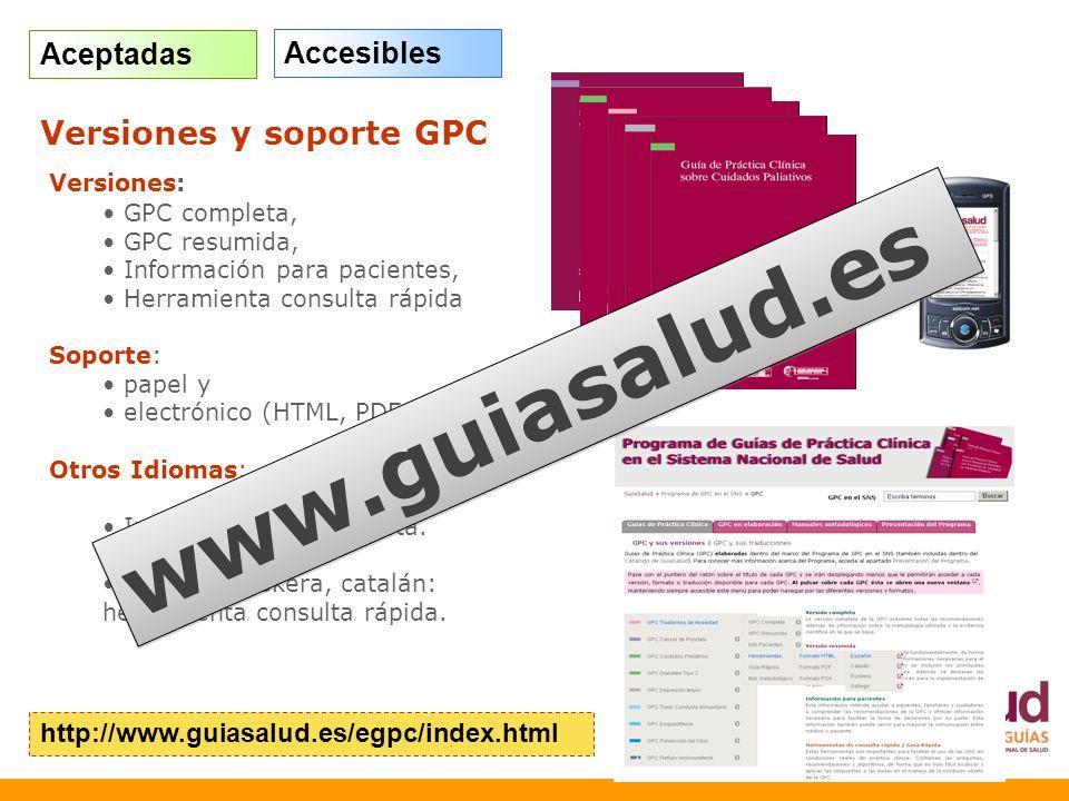 Versiones: GPC completa, GPC resumida, Información para pacientes, Herramienta consulta rápida Soporte: papel y electrónico (HTML, PDF; PDA) Otros Idi